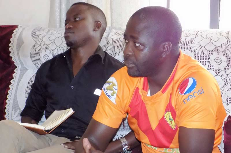 Onduparaka FC assistant CEO Mr Denis Jawoko (right) and team manager Mr Joe Erima, Green