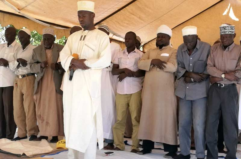 Moslems praying at late Abiriga's home