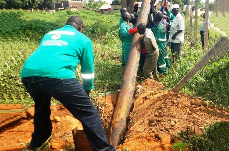 The WENRECO staff fixing electricity poles.